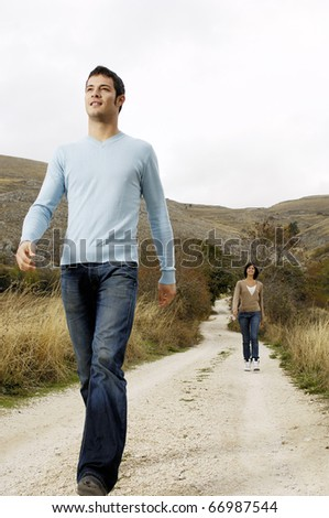Couple walking in the country