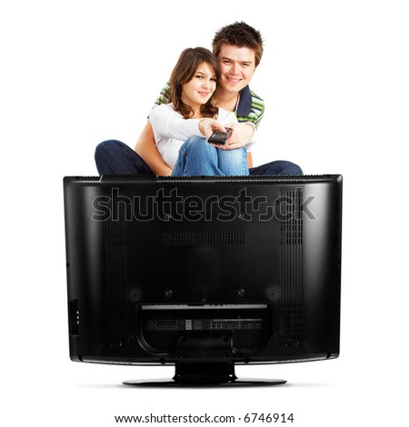 Couple watching TV - front view - isolated on white - stock photo