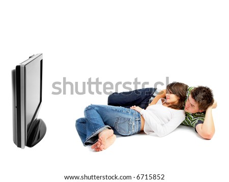 Couple watching TV - side view - isolated on white - stock photo