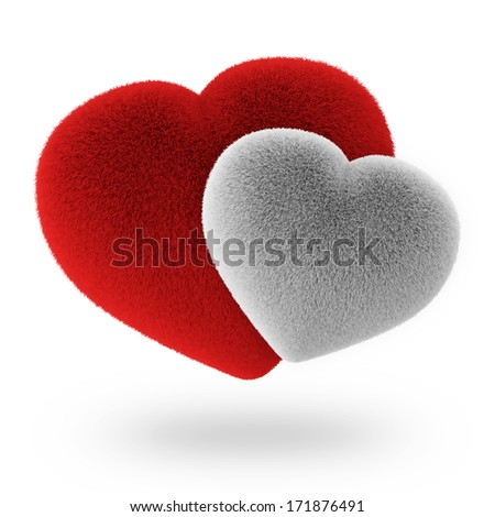 Couple White and Red Furry Hearts isolated on white background - stock photo
