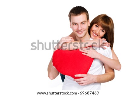 Couple with a red heart on white background