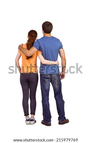 Couple with backs to camera on white background - stock photo