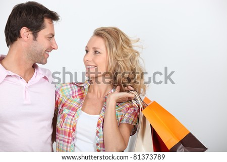 couple with bags - stock photo