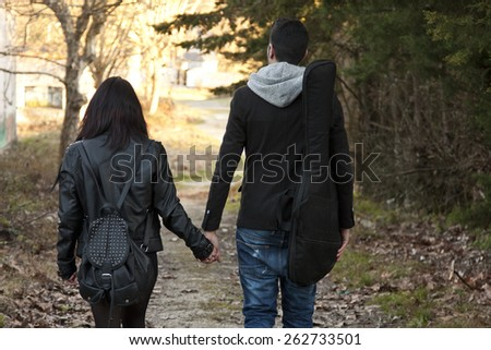 couple with electric guitar - stock photo