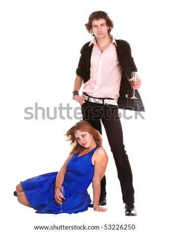 Couple with glass of wine on white background. Isolated. - stock photo