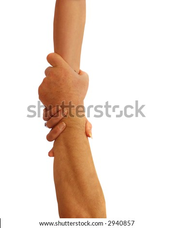 Couple with hands rescuing each other form peril - stock photo
