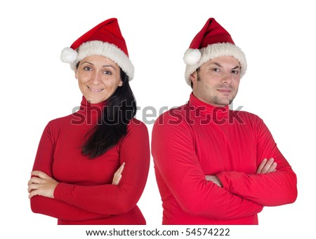 Couple with red clothing in Christmas isolated on white background
