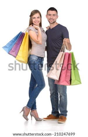 Couple with shopping bags, isolated on white background
