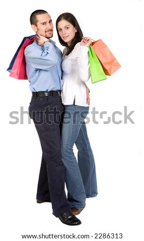 couple with shopping bags over a white background