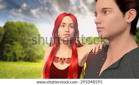 Couple young in the park. Two young men stand side by side. Redhead girl and young man. - stock photo