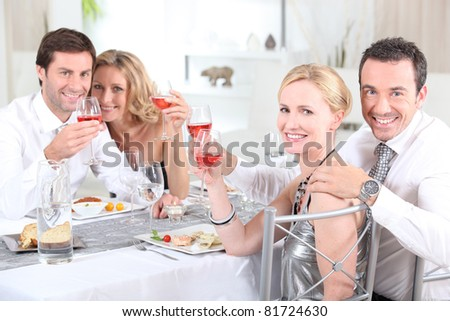 couples at dinner - stock photo