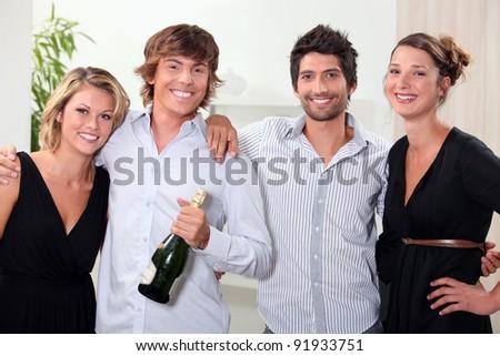 Couples celebrating - stock photo