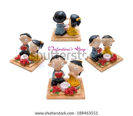 Couples doll made from plasticine  - stock photo