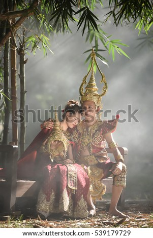 Couples dress of thailand national costume in literature antique legend