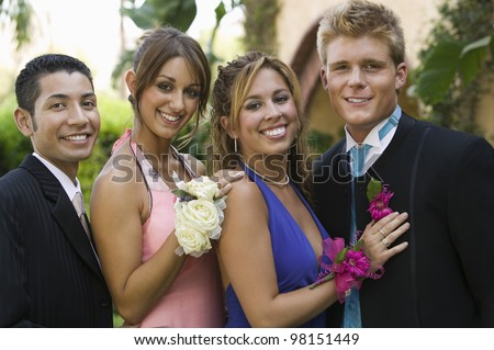 Couples Dressed for Prom - stock photo