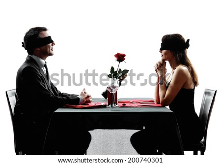 couples lovers dinning blind date in silhouettes on white background - stock photo
