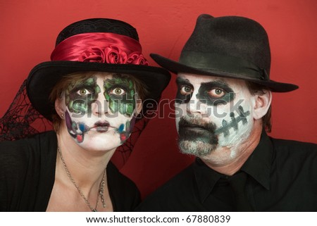 Couples wearing All Souls Day Black costume