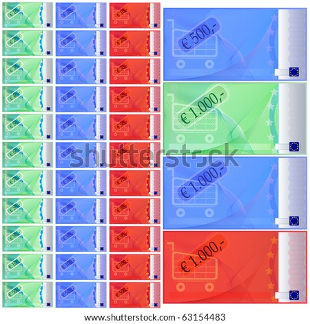 coupon set that looks like money in three colors: cyan, blue and red; euro set from ten until one hundred euro, one five hundred coupon, one one thousand coupon - stock photo