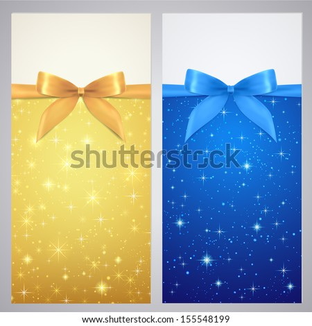 Coupon, Voucher, Gift certificate, gift card template with bow (ribbon), sparkling, twinkling stars. Holiday (celebration) gold background (Christmas, Birthday) for invitation, banner. Blue night sky - stock photo