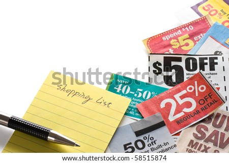 Coupons and shopping list on white background. Concept of saving money. - stock photo