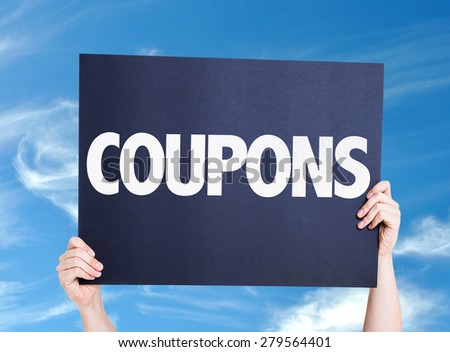 Coupons card with sky background - stock photo