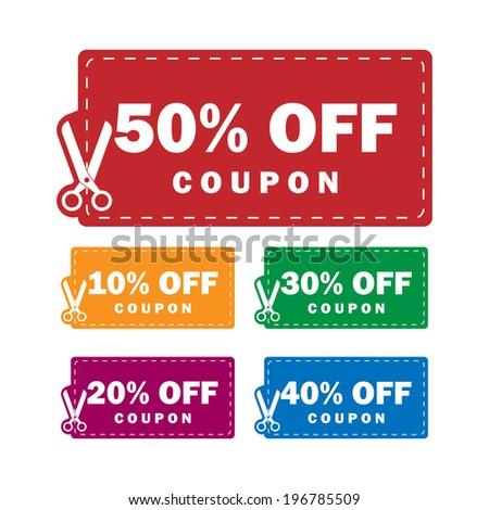 Coupons discounts - stock photo