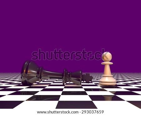 Courage and powers abstract concept with chess pawn and chess king. Purple background with copy space. - stock photo