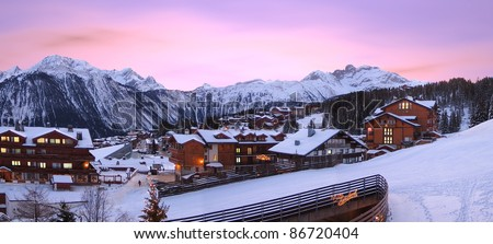 Courchevel an aristocratic ski resort in France - stock photo