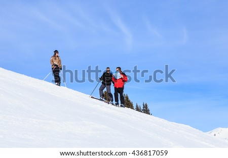 COURCHEVEL, FRANCE - JAN 26, 2016: Skiers slopes considering the scheme. Ski Resort Courchevel. France