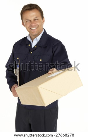 Courier Extending His Hand For A Handshake And Holding A Parcel