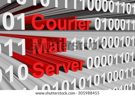 Courier Mail Server is presented in the form of binary code - stock photo