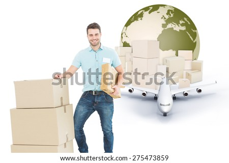 Courier man with cardboard boxes against logistics concept - stock photo