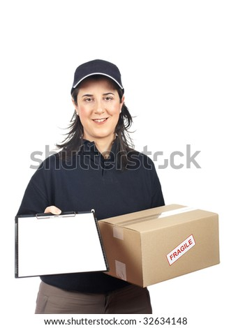 Courier woman delivering a parcel fragile and holding a clipboard for a signature - stock photo