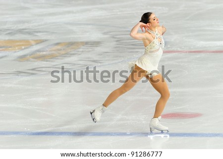 COURMAYEUR, ITALY - DEC 17: Professional skater Francesca Rio performs free skating at the 2011-12 Italian national figure ice skating Championship on December 17, 2011 in Courmayeur, Italy.