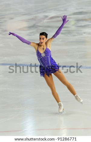 COURMAYEUR, ITALY - DEC 17: Professional skater Valentina Marchei performs free skating at the 2011-12 Italian national figure ice skating Championship on Dec. 17, 2011 in Courmayeur, Italy.