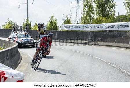 COURSAC,FRANCE-JUL 26:The American cyclist Tejay van Garderen ( BMC RacingTeam) pedaling during the stage 20 ( time trial Bergerac - Perigueux) of Le Tour de France 2014.
