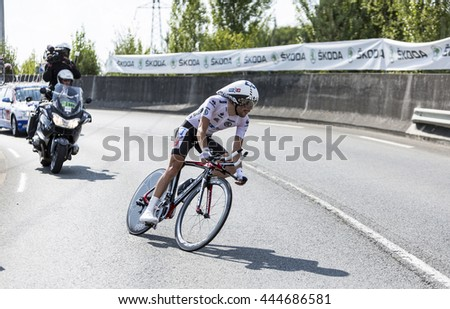 COURSAC,FRANCE-JUL 26: The French cyclist Thibaut Pinot (FDJ.fr Team) pedaling during the stage 20 ( time trial Bergerac - Perigueux) of Le Tour de France 2014.