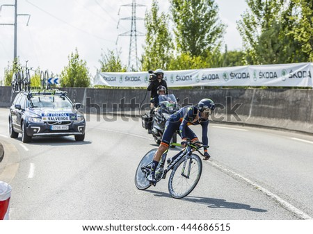 COURSAC,FRANCE-JUL 26: The Spanish cyclist Alejandro Valverde ( Movistar Team) pedaling during the stage 20 ( time trial Bergerac - Perigueux) of Le Tour de France 2014.