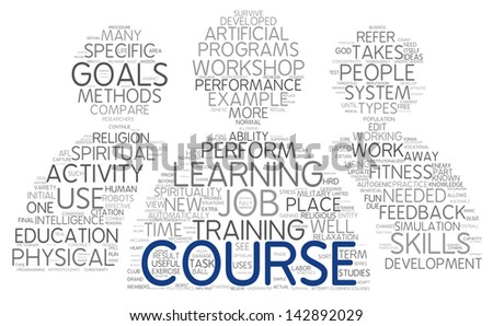 Course and training related words concept in tag cloud - stock photo