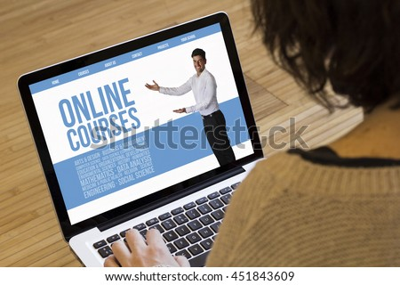 courses online concept: marketing online on a laptop screen. Screen graphics are made up. - stock photo