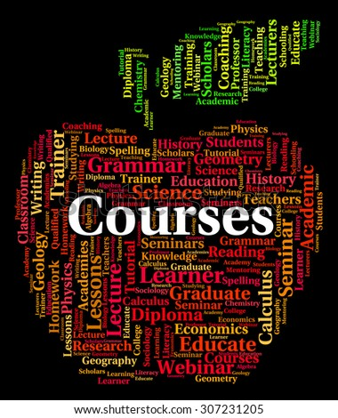 Courses Word Showing Learn Program And Schedule