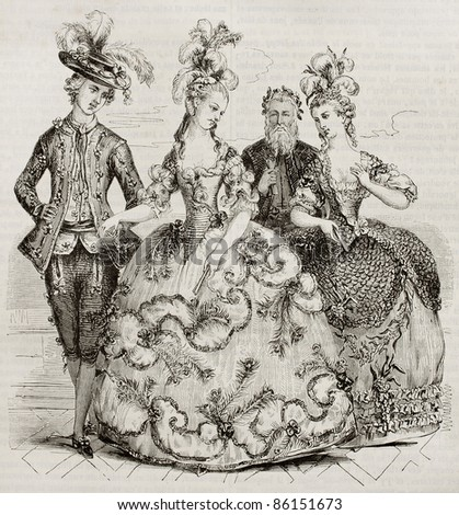 Court Ball in 1785: Costumes of marie Antoniette, Counts of Provence and Count of Artois. Created by Boquet, kept in Deveria collection, published on Magasin Pittoresque, Paris, 1843 - stock photo