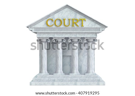 Court building, 3D rendering isolated on  white background