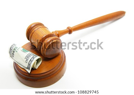court gavel and cash, on white - stock photo