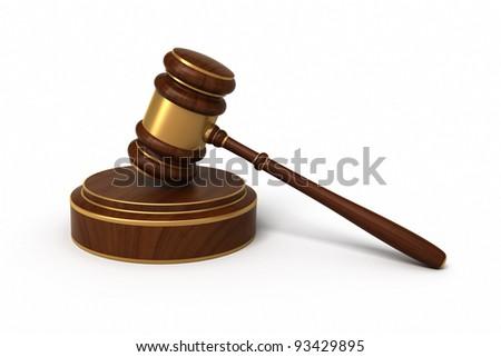 court gavel render isolated on white stock illustration 93429895