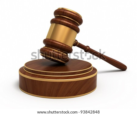 Court Gavel render (isolated on white and clipping path) - stock photo