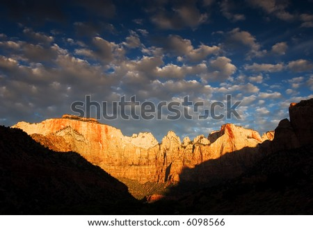 Court of the Patriarchs, Zion National Park - stock photo