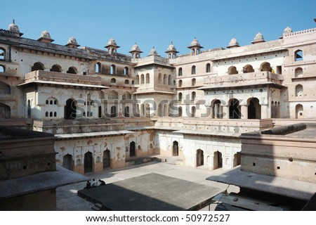 Court of the Raj Mahal palace at Orcha ,India,Madhya Pradesh