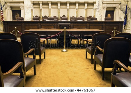 Court Room in State Capitol Building - Madison, Wisconsin. - stock photo