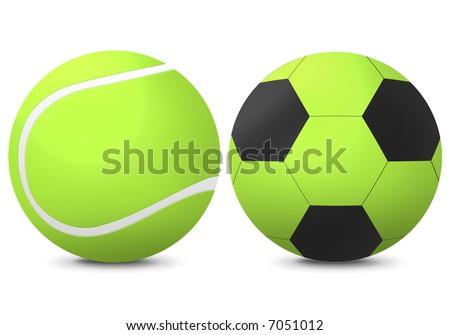 court tennis baal, soccer ball - stock photo